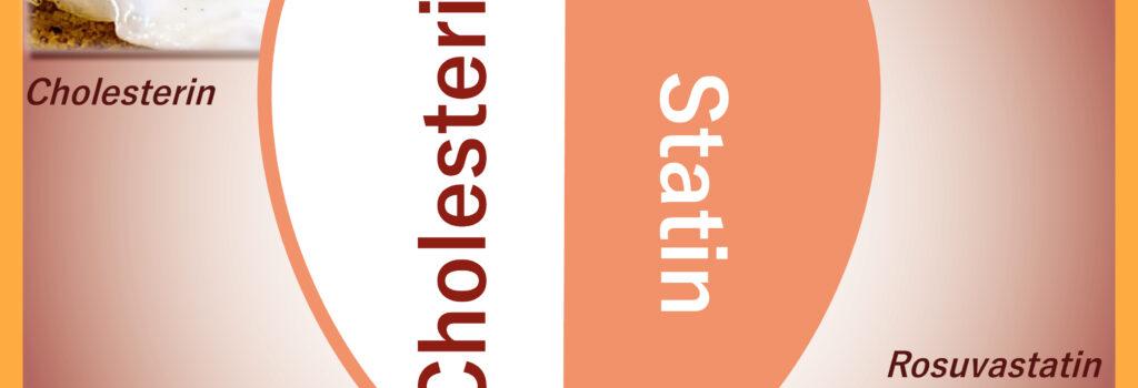 Gegenüberstellung von Cholesterin und Statin